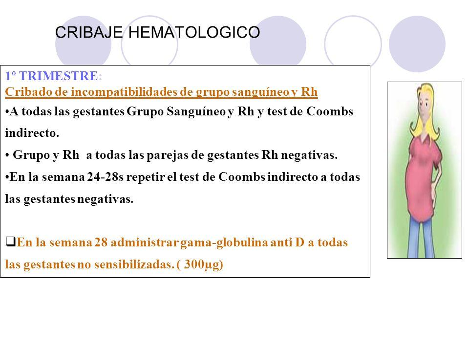 CRIBAJE HEMATOLOGICO 1º TRIMESTRE: Cribado de incompatibilidades de grupo sanguíneo y Rh A todas las gestantes Grupo Sanguíneo y Rh y test de Coombs i