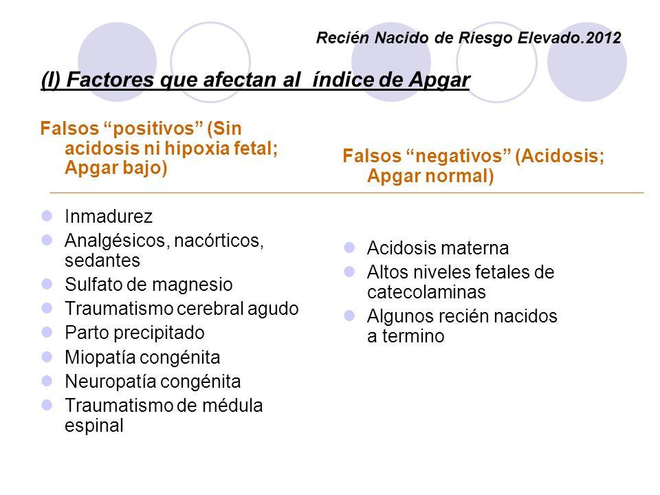 (I) Factores que afectan al índice de Apgar Falsos positivos (Sin acidosis ni hipoxia fetal; Apgar bajo) Inmadurez Analgésicos, nacórticos, sedantes S
