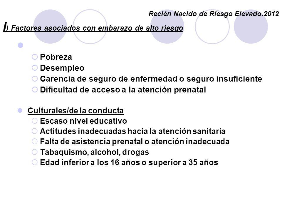 I ) Factores asociados con embarazo de alto riesgo Embarazo Pobreza Desempleo Carencia de seguro de enfermedad o seguro insuficiente Dificultad de acc