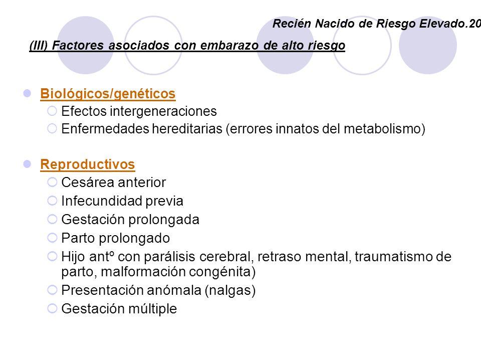 (III) Factores asociados con embarazo de alto riesgo Biológicos/genéticos Efectos intergeneraciones Enfermedades hereditarias (errores innatos del met
