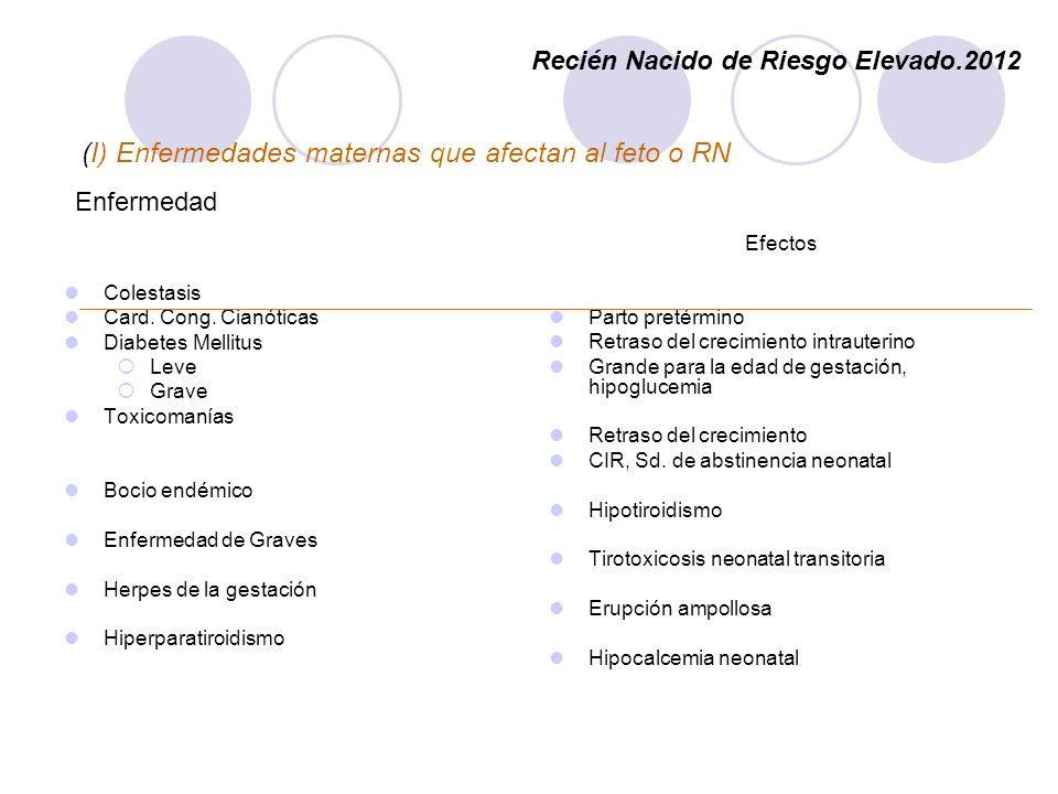 (I) Enfermedades maternas que afectan al feto o RN Enfermedad Colestasis Card. Cong. Cianóticas Diabetes Mellitus Leve Grave Toxicomanías Bocio endémi