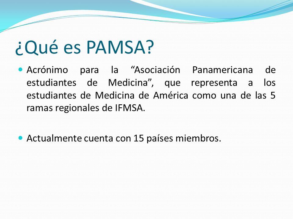 ¿Qué es PAMSA? Acrónimo para la Asociación Panamericana de estudiantes de Medicina, que representa a los estudiantes de Medicina de América como una d