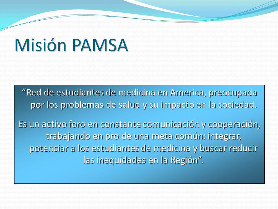 Misión PAMSA Red de estudiantes de medicina en America, preocupada por los problemas de salud y su impacto en la sociedad. Es un activo foro en consta