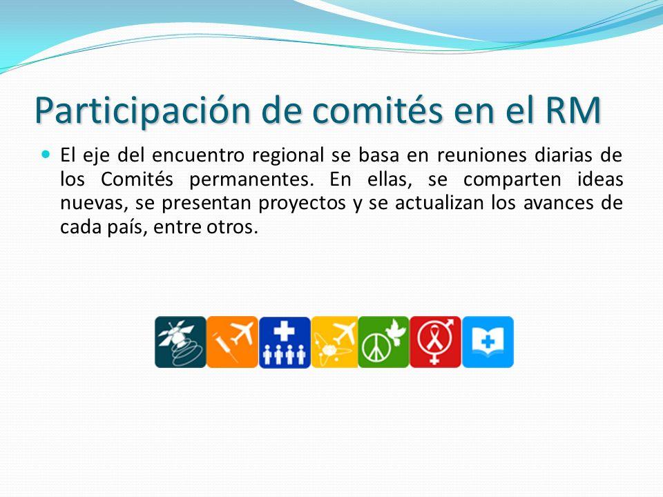 Participación de comités en el RM El eje del encuentro regional se basa en reuniones diarias de los Comités permanentes. En ellas, se comparten ideas