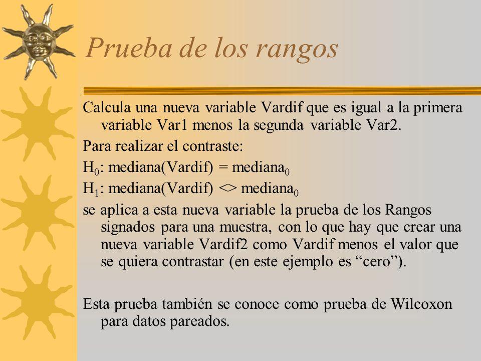 Prueba de los rangos Calcula una nueva variable Vardif que es igual a la primera variable Var1 menos la segunda variable Var2. Para realizar el contra