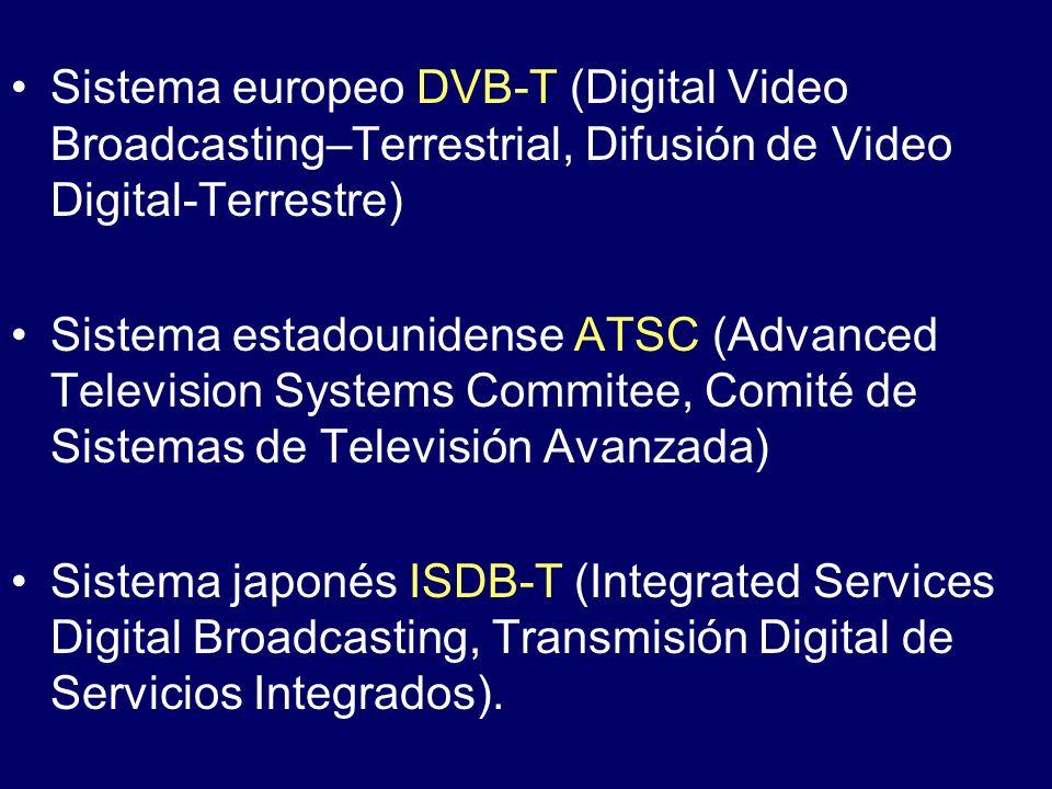 Sistema europeo DVB-T (Digital Video Broadcasting–Terrestrial, Difusión de Video Digital-Terrestre) Sistema estadounidense ATSC (Advanced Television S