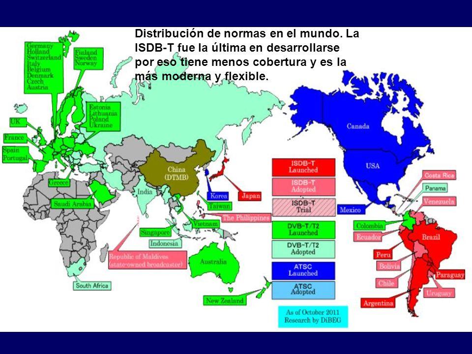 Distribución de normas en el mundo. La ISDB-T fue la última en desarrollarse por eso tiene menos cobertura y es la más moderna y flexible.