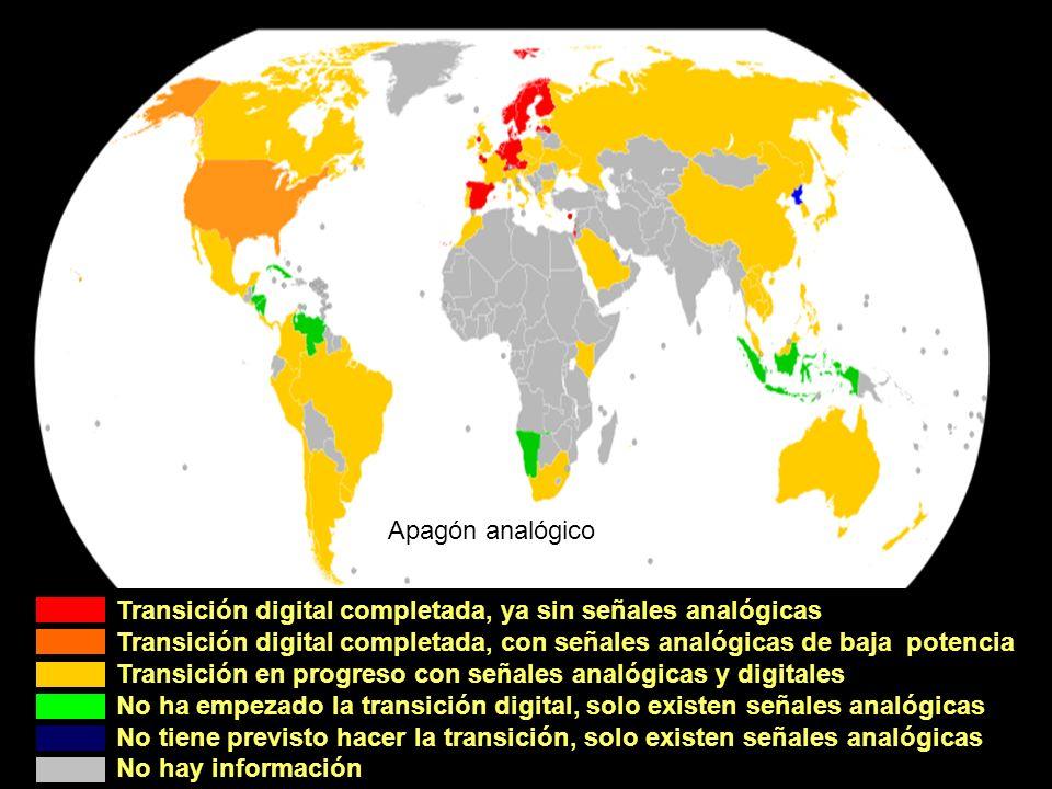 Transición digital completada, ya sin señales analógicas Transición digital completada, con señales analógicas de baja potencia Transición en progreso