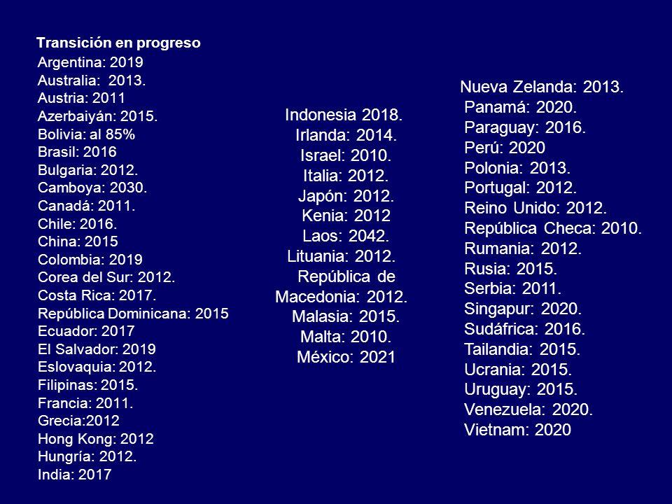 Transición en progreso Argentina: 2019 Australia: 2013. Austria: 2011 Azerbaiyán: 2015. Bolivia: al 85% Brasil: 2016 Bulgaria: 2012. Camboya: 2030. Ca
