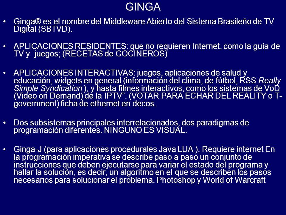 GINGA Ginga® es el nombre del Middleware Abierto del Sistema Brasileño de TV Digital (SBTVD). APLICACIONES RESIDENTES: que no requieren Internet, como
