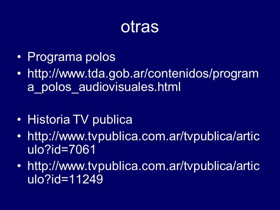 otras Programa polos http://www.tda.gob.ar/contenidos/program a_polos_audiovisuales.html Historia TV publica http://www.tvpublica.com.ar/tvpublica/art