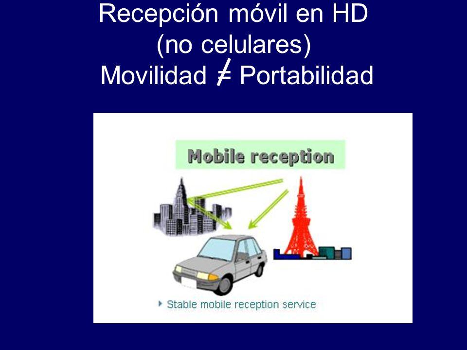 Recepción móvil en HD (no celulares) Movilidad = Portabilidad