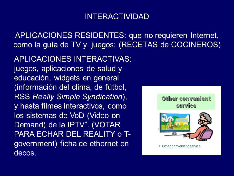 INTERACTIVIDAD APLICACIONES RESIDENTES: que no requieren Internet, como la guía de TV y juegos; (RECETAS de COCINEROS) APLICACIONES INTERACTIVAS: jueg
