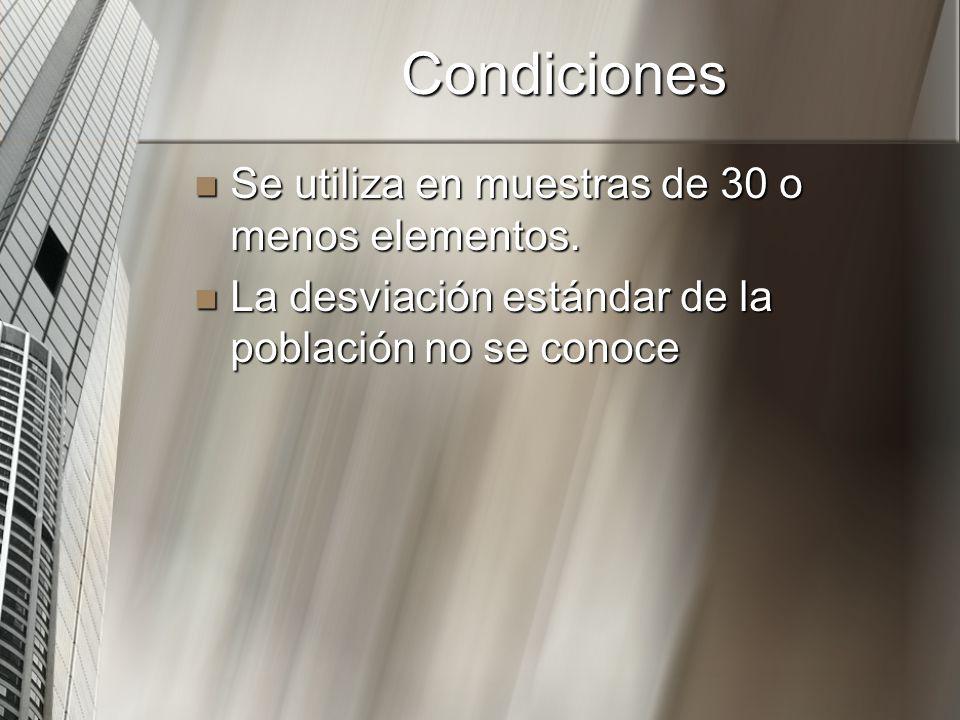 Condiciones Se utiliza en muestras de 30 o menos elementos. Se utiliza en muestras de 30 o menos elementos. La desviación estándar de la población no