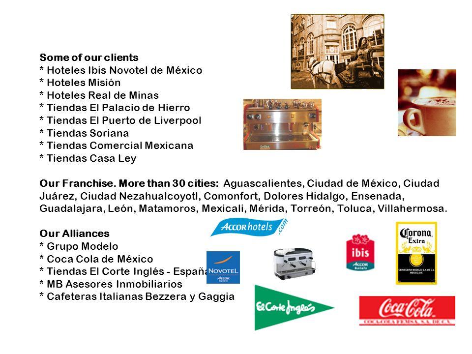 Some of our clients * Hoteles Ibis Novotel de México * Hoteles Misión * Hoteles Real de Minas * Tiendas El Palacio de Hierro * Tiendas El Puerto de Li