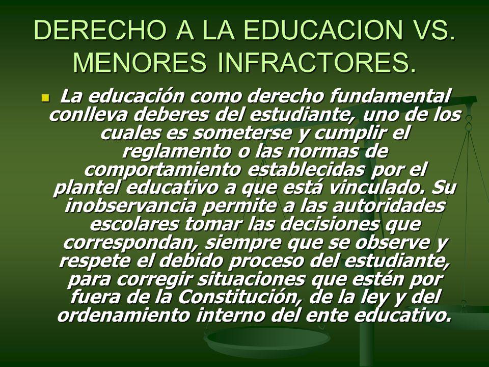 DERECHO A LA EDUCACION VS. MENORES INFRACTORES. La educación como derecho fundamental conlleva deberes del estudiante, uno de los cuales es someterse