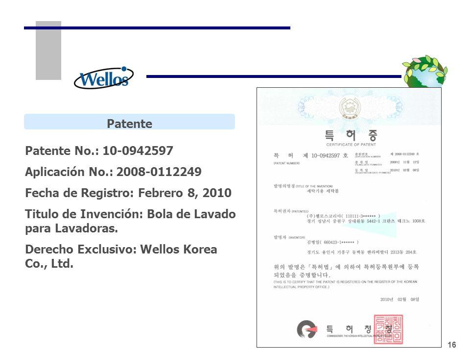 Patente Patente No.: 10-0942597 Aplicación No.: 2008-0112249 Fecha de Registro: Febrero 8, 2010 Titulo de Invención: Bola de Lavado para Lavadoras. De