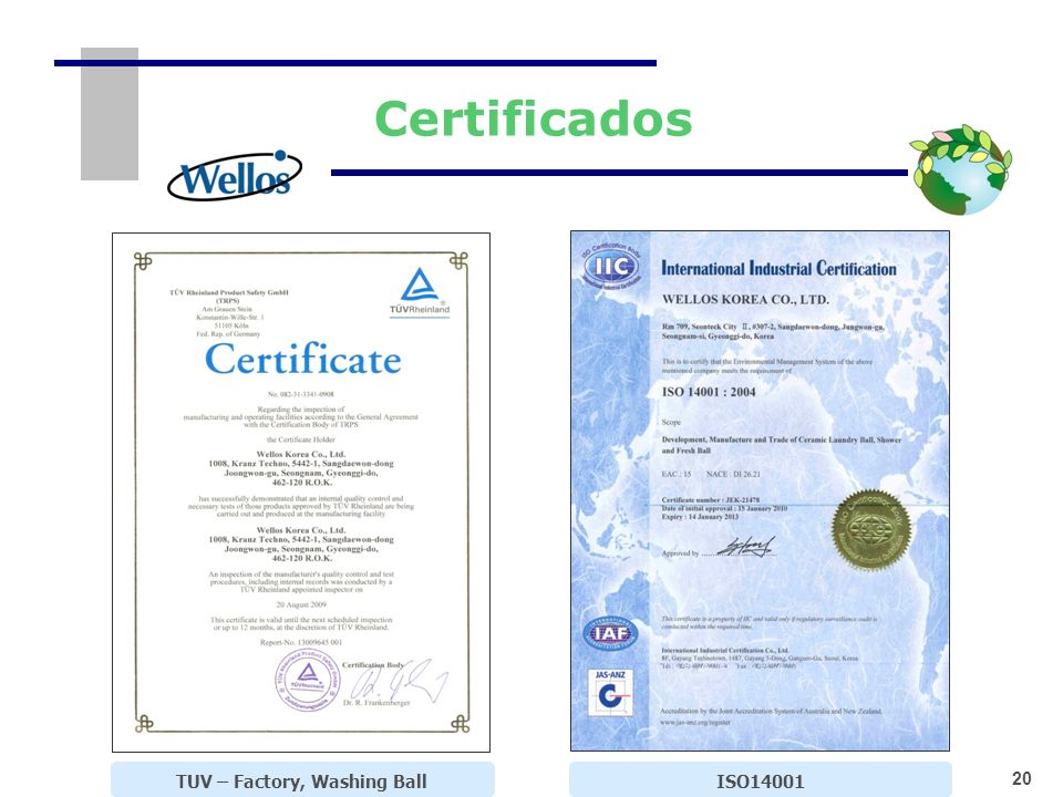 20 TUV – Factory, Washing Ball Certificados ISO14001