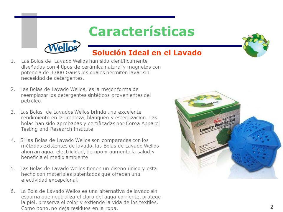 1 2 Características 2 1.Las Bolas de Lavado Wellos han sido científicamente diseñadas con 4 tipos de cerámica natural y magnetos con potencia de 3,000
