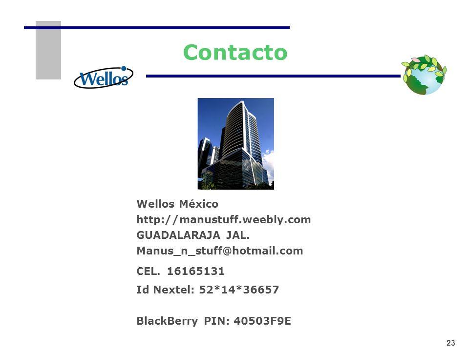 Contacto 23 Wellos México http://manustuff.weebly.com GUADALARAJA JAL. Manus_n_stuff@hotmail.com CEL. 16165131 Id Nextel: 52*14*36657 BlackBerry PIN: