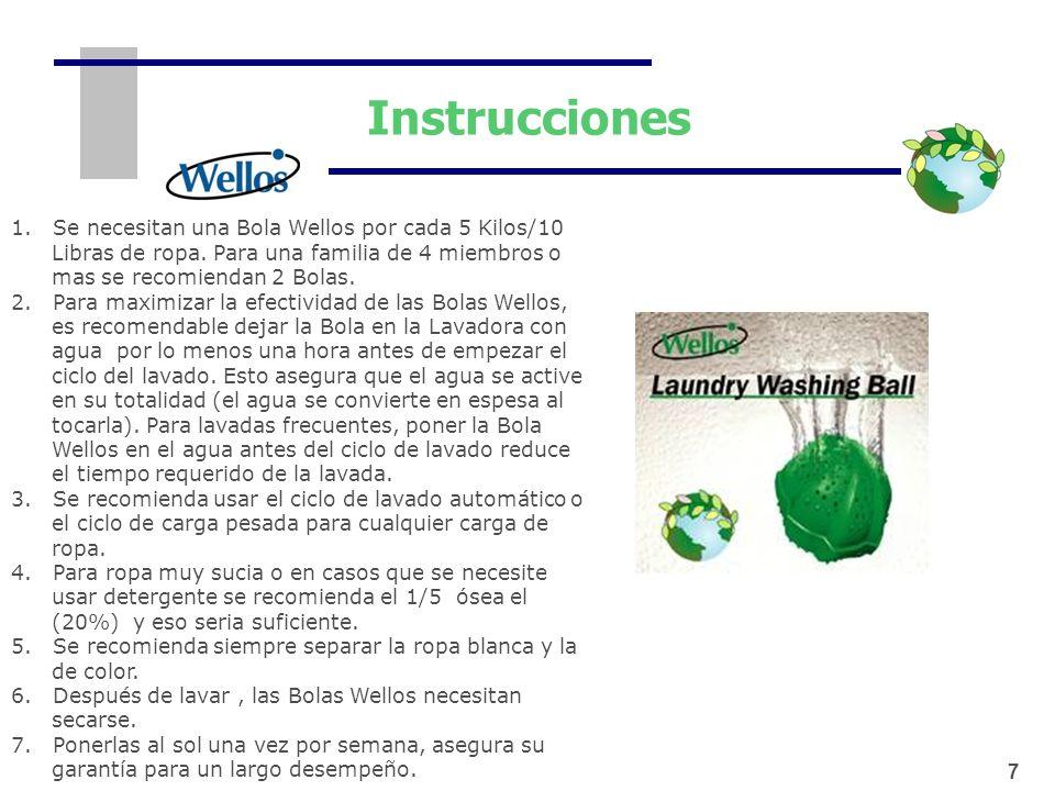 Instrucciones 1. Se necesitan una Bola Wellos por cada 5 Kilos/10 Libras de ropa. Para una familia de 4 miembros o mas se recomiendan 2 Bolas. 2. Para