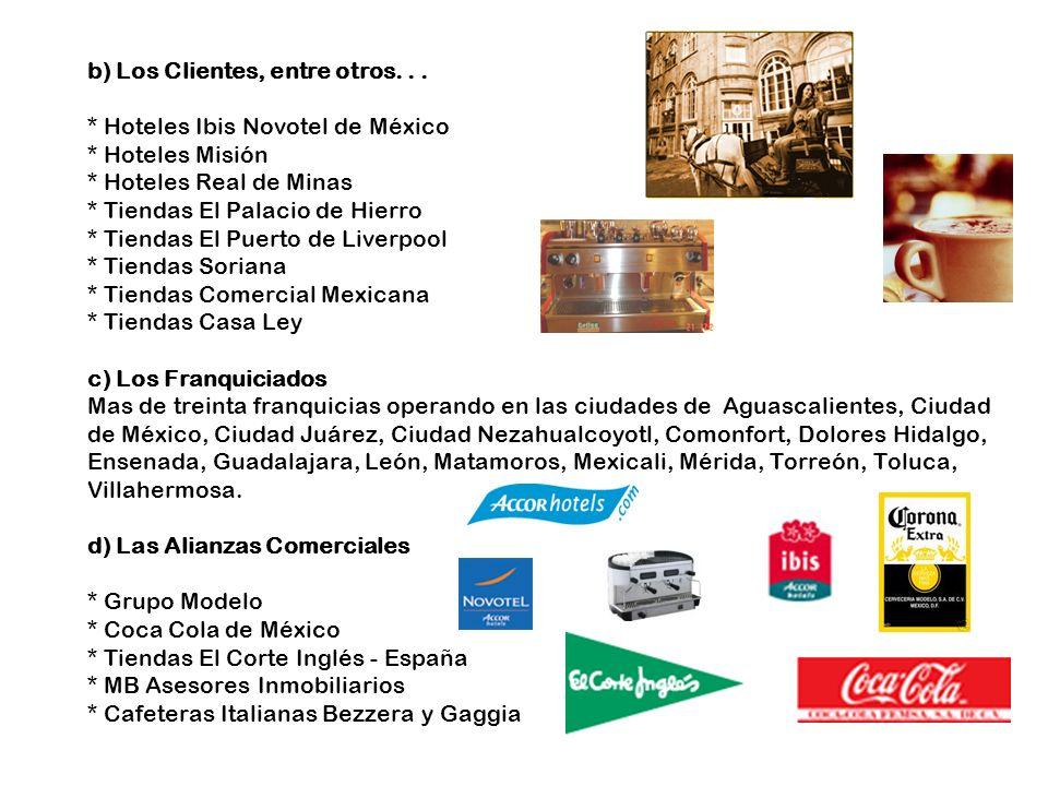 b) Los Clientes, entre otros... * Hoteles Ibis Novotel de México * Hoteles Misión * Hoteles Real de Minas * Tiendas El Palacio de Hierro * Tiendas El