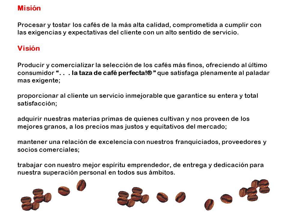 Misión Procesar y tostar los cafés de la más alta calidad, comprometida a cumplir con las exigencias y expectativas del cliente con un alto sentido de
