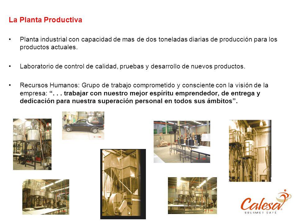 La Planta Productiva Planta industrial con capacidad de mas de dos toneladas diarias de producción para los productos actuales. Laboratorio de control