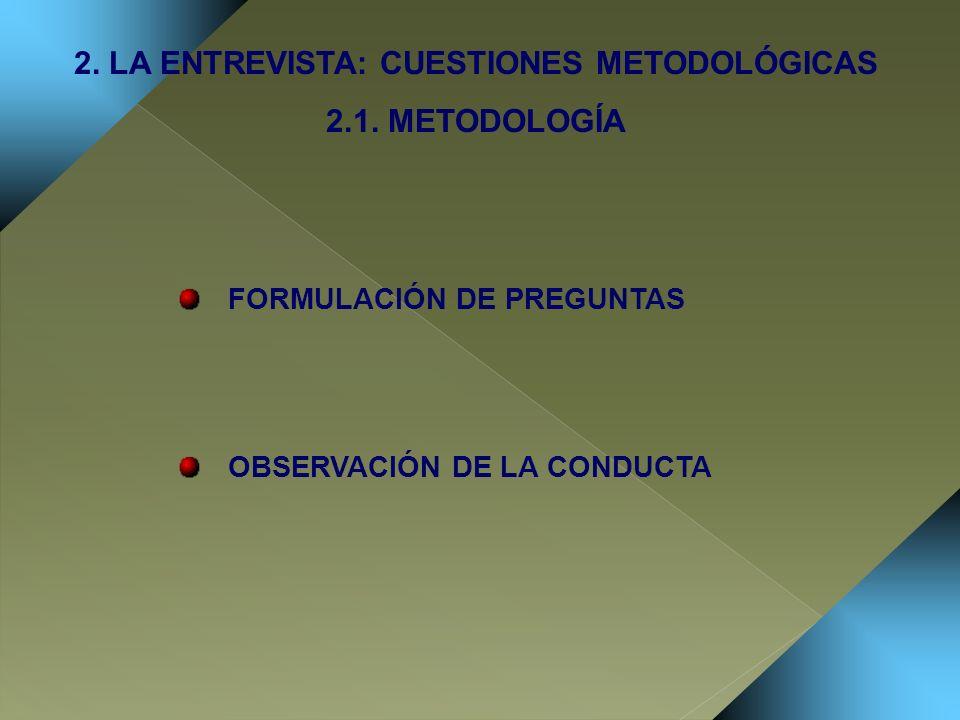 FORMULACIÓN DE PREGUNTAS OBSERVACIÓN DE LA CONDUCTA 2. LA ENTREVISTA: CUESTIONES METODOLÓGICAS 2.1. METODOLOGÍA