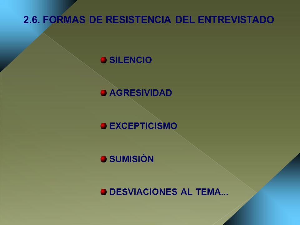 SILENCIO AGRESIVIDAD EXCEPTICISMO SUMISIÓN DESVIACIONES AL TEMA... 2.6. FORMAS DE RESISTENCIA DEL ENTREVISTADO