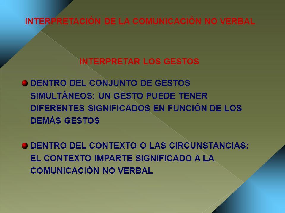 INTERPRETACIÓN DE LA COMUNICACIÓN NO VERBAL INTERPRETAR LOS GESTOS DENTRO DEL CONJUNTO DE GESTOS SIMULTÁNEOS: UN GESTO PUEDE TENER DIFERENTES SIGNIFIC