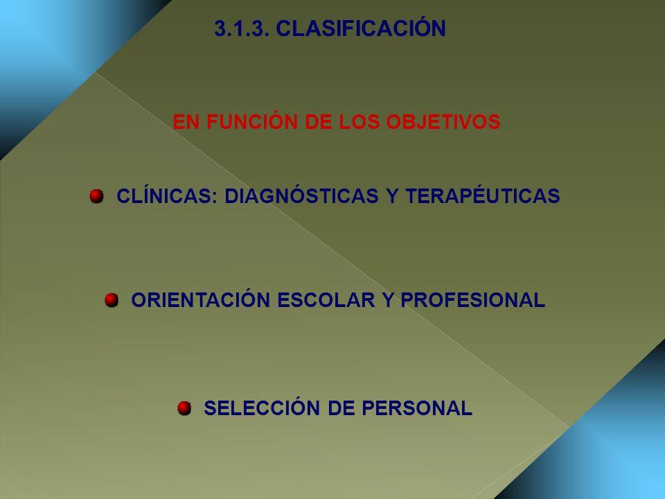 CLÍNICAS: DIAGNÓSTICAS Y TERAPÉUTICAS ORIENTACIÓN ESCOLAR Y PROFESIONAL SELECCIÓN DE PERSONAL 3.1.3. CLASIFICACIÓN EN FUNCIÓN DE LOS OBJETIVOS