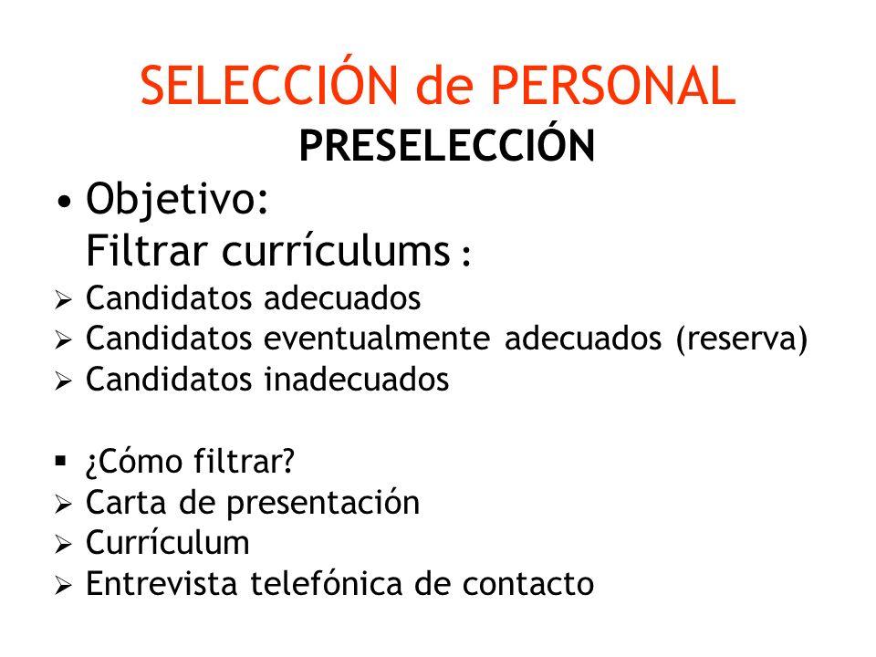 SELECCIÓN de PERSONAL PRESELECCIÓN Objetivo: Filtrar currículums : Candidatos adecuados Candidatos eventualmente adecuados (reserva) Candidatos inadec