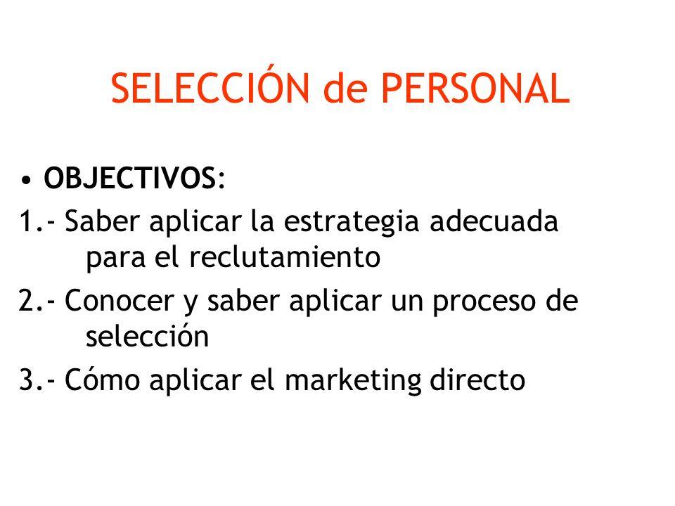 SELECCIÓN de PERSONAL OBJECTIVOS: 1.- Saber aplicar la estrategia adecuada para el reclutamiento 2.- Conocer y saber aplicar un proceso de selección 3