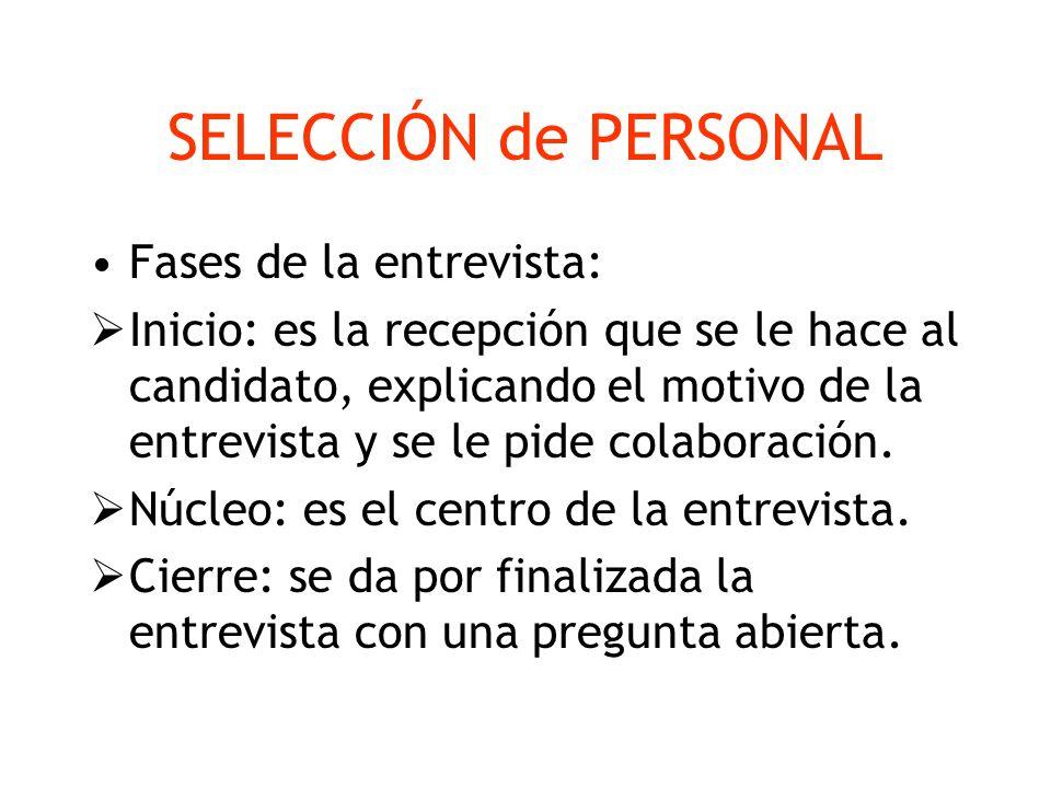 SELECCIÓN de PERSONAL Fases de la entrevista: Inicio: es la recepción que se le hace al candidato, explicando el motivo de la entrevista y se le pide