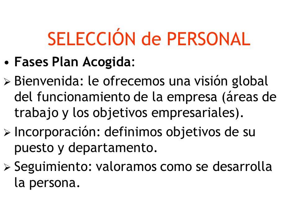 SELECCIÓN de PERSONAL Fases Plan Acogida: Bienvenida: le ofrecemos una visión global del funcionamiento de la empresa (áreas de trabajo y los objetivo