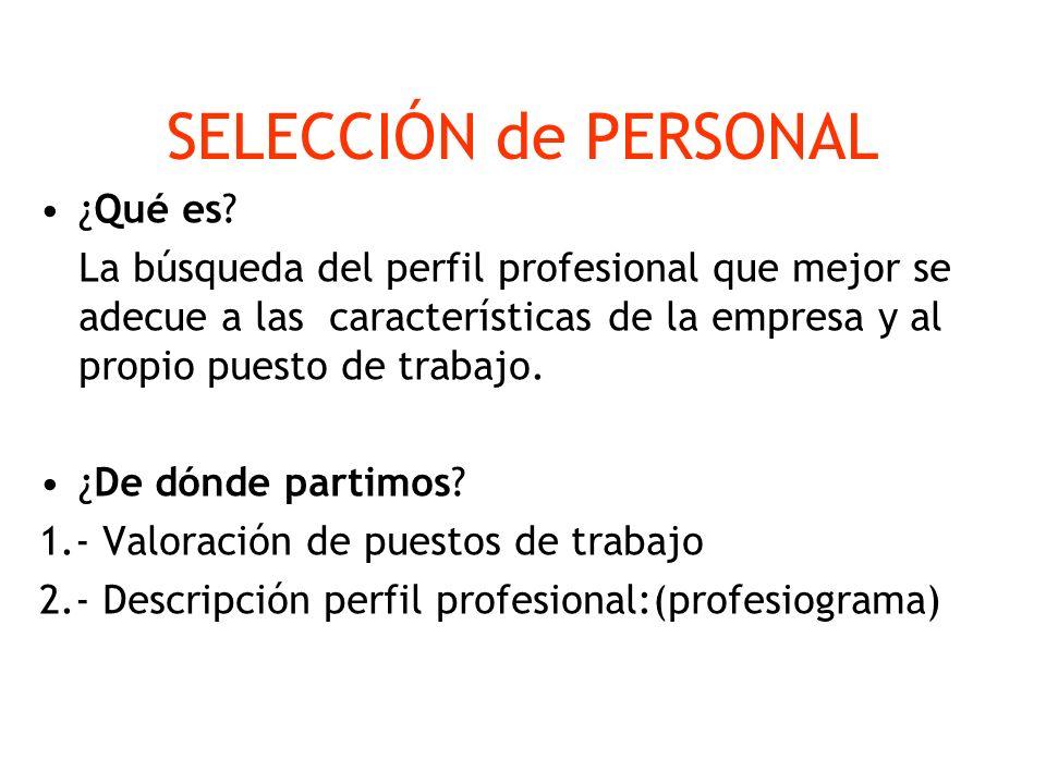 SELECCIÓN de PERSONAL ¿Qué es? La búsqueda del perfil profesional que mejor se adecue a las características de la empresa y al propio puesto de trabaj
