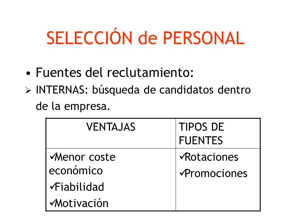 SELECCIÓN de PERSONAL Fuentes del reclutamiento: INTERNAS: búsqueda de candidatos dentro de la empresa. VENTAJASTIPOS DE FUENTES Menor coste económico