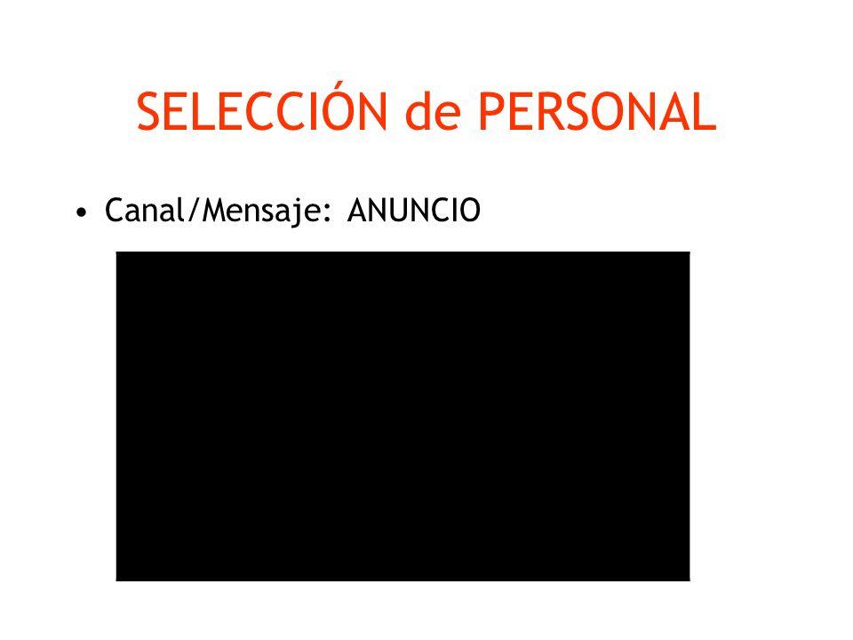 SELECCIÓN de PERSONAL Canal/Mensaje: ANUNCIO Encabezado atractivo Nombre del puesto Función Definición del perfil con los requisitos y aspectos valora