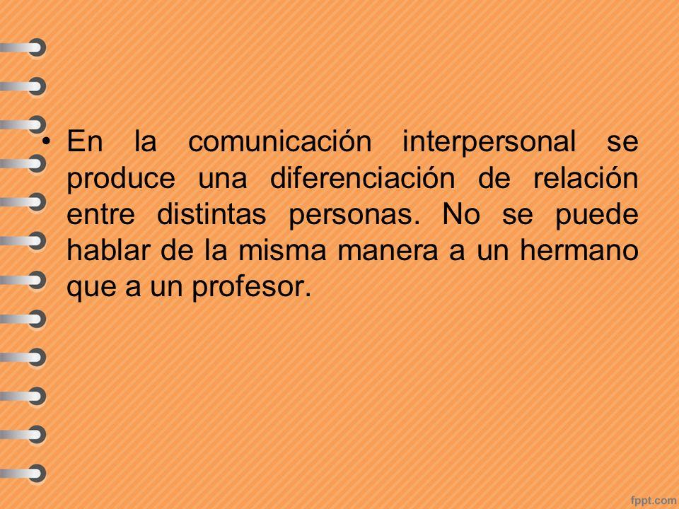 En la comunicación interpersonal se produce una diferenciación de relación entre distintas personas. No se puede hablar de la misma manera a un herman