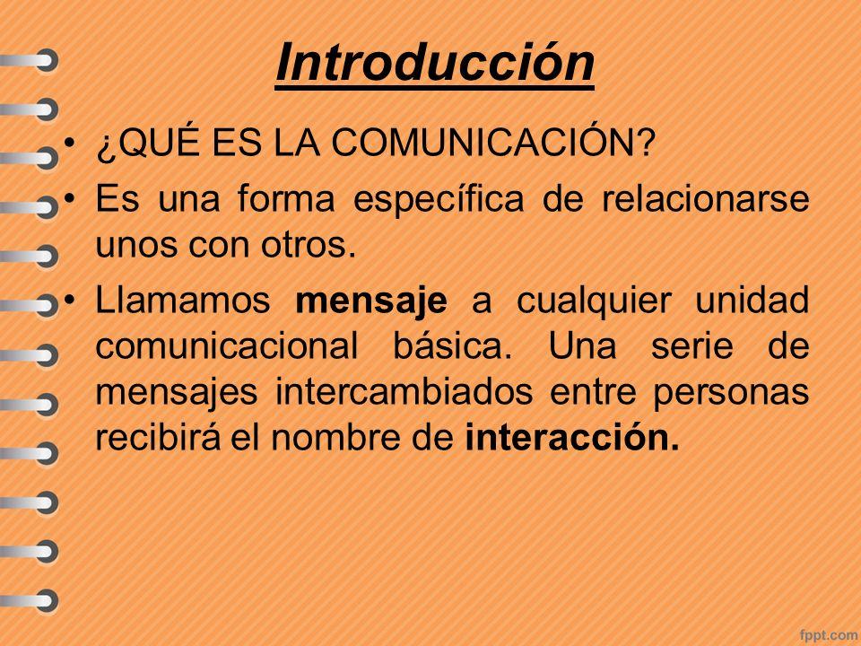 Introducción ¿QUÉ ES LA COMUNICACIÓN? Es una forma específica de relacionarse unos con otros. Llamamos mensaje a cualquier unidad comunicacional básic