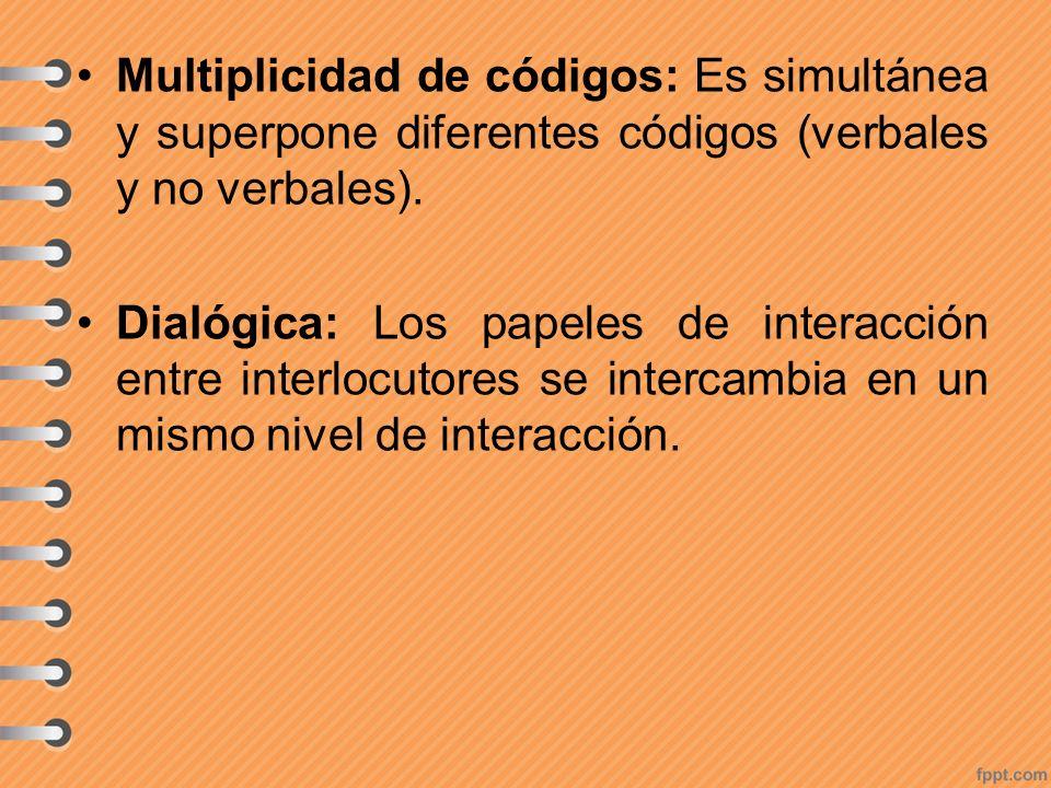 Multiplicidad de códigos: Es simultánea y superpone diferentes códigos (verbales y no verbales). Dialógica: Los papeles de interacción entre interlocu