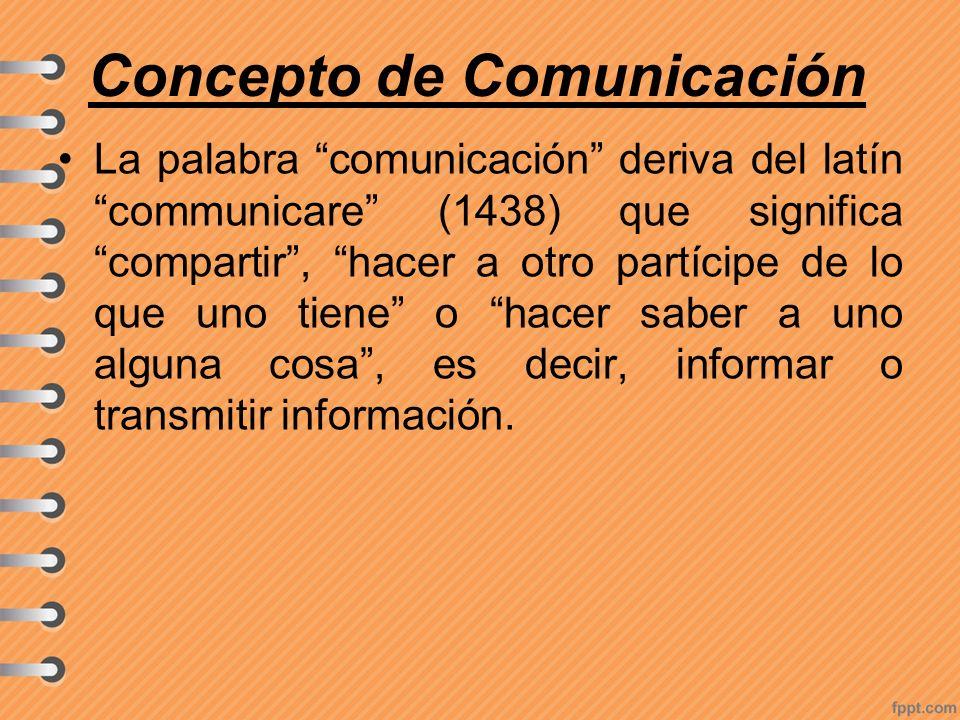 Concepto de Comunicación La palabra comunicación deriva del latín communicare (1438) que significa compartir, hacer a otro partícipe de lo que uno tie