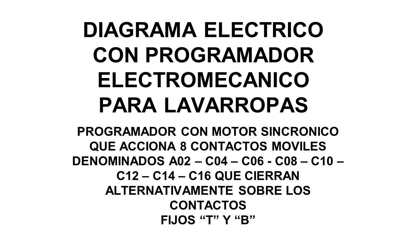 DIAGRAMA ELECTRICO CON PROGRAMADOR ELECTROMECANICO PARA LAVARROPAS PROGRAMADOR CON MOTOR SINCRONICO QUE ACCIONA 8 CONTACTOS MOVILES DENOMINADOS A02 –