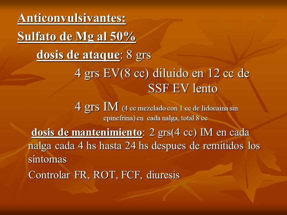 Anticonvulsivantes: Sulfato de Mg al 50% dosis de ataque: 8 grs dosis de ataque: 8 grs 4 grs EV(8 cc) diluido en 12 cc de SSF EV lento 4 grs EV(8 cc)