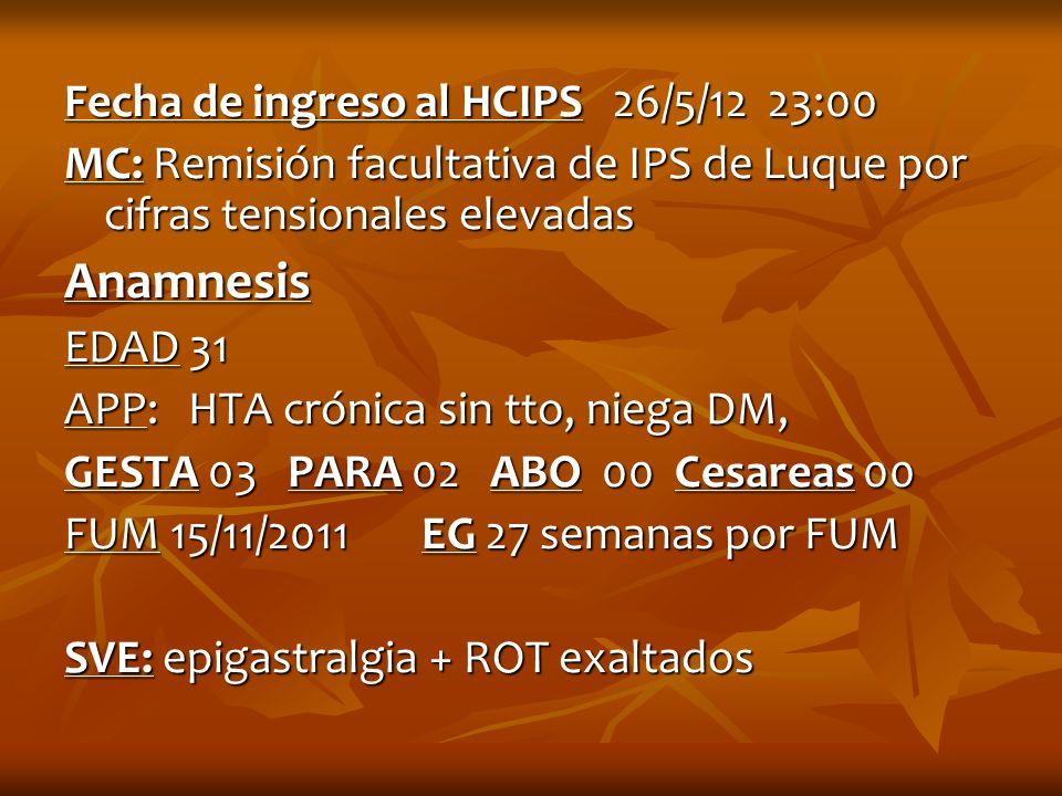 Fecha de ingreso al HCIPS 26/5/12 23:00 MC: Remisión facultativa de IPS de Luque por cifras tensionales elevadas Anamnesis EDAD 31 APP: HTA crónica si
