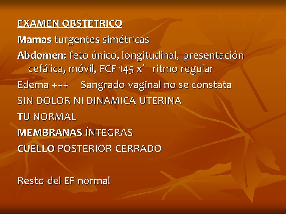 EXAMEN OBSTETRICO Mamas turgentes simétricas Abdomen: feto único, longitudinal, presentación cefálica, móvil, FCF 145 x´ ritmo regular Edema +++ Sangr