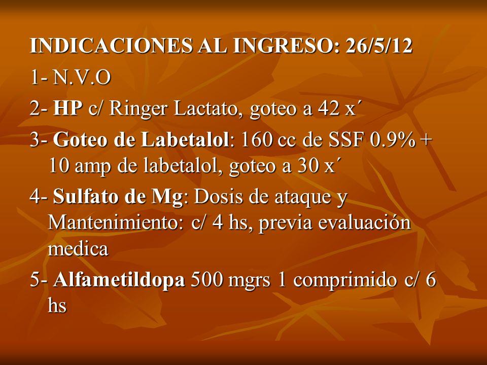 INDICACIONES AL INGRESO: 26/5/12 1- N.V.O 2- HP c/ Ringer Lactato, goteo a 42 x´ 3- Goteo de Labetalol: 160 cc de SSF 0.9% + 10 amp de labetalol, gote
