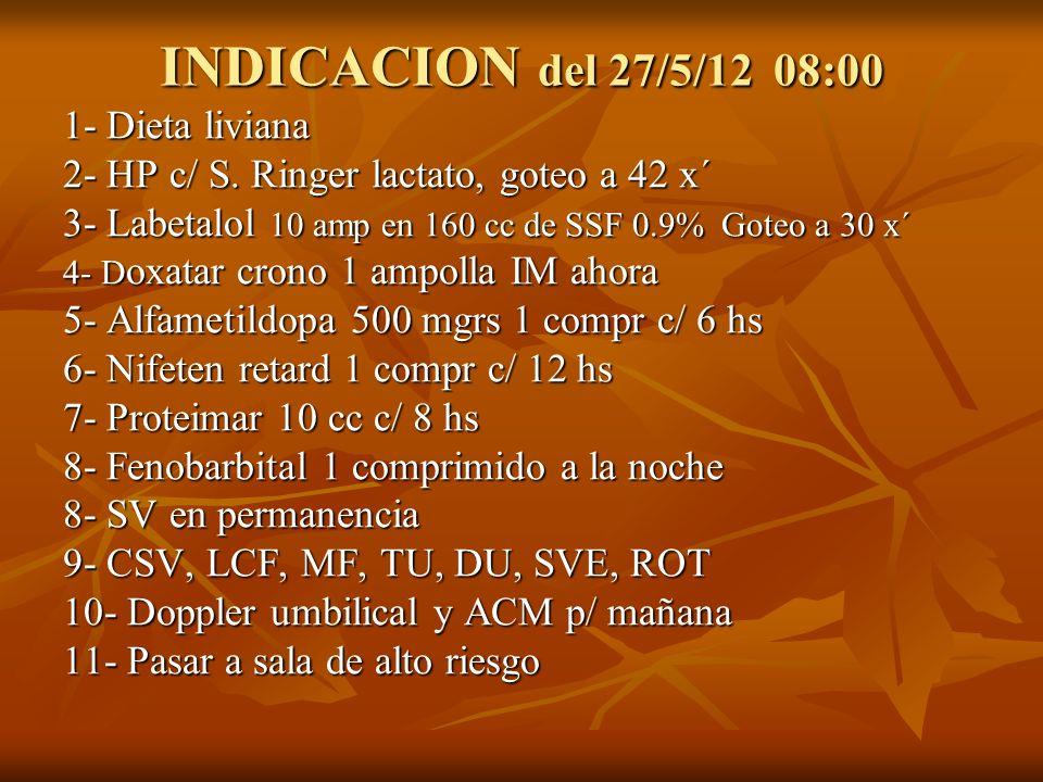 INDICACION del 27/5/12 08:00 1- Dieta liviana 2- HP c/ S. Ringer lactato, goteo a 42 x´ 3- Labetalol 10 amp en 160 cc de SSF 0.9% Goteo a 30 x´ 4- D o