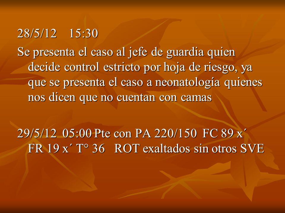 28/5/12 15:30 Se presenta el caso al jefe de guardia quien decide control estricto por hoja de riesgo, ya que se presenta el caso a neonatología quien